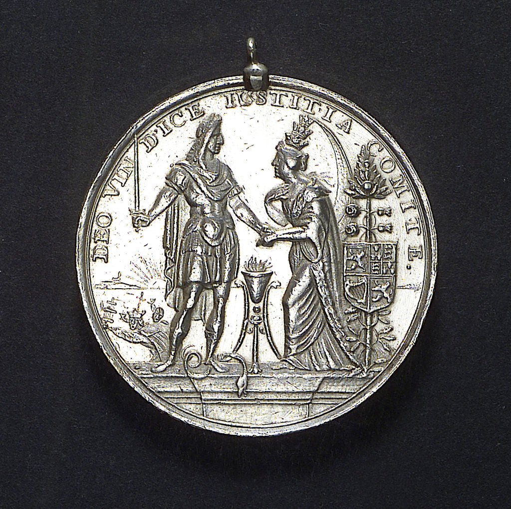 Detail of Medal commemorating the landing of William of Orange at Torbay, 1688; obverse by R. Arondeaux