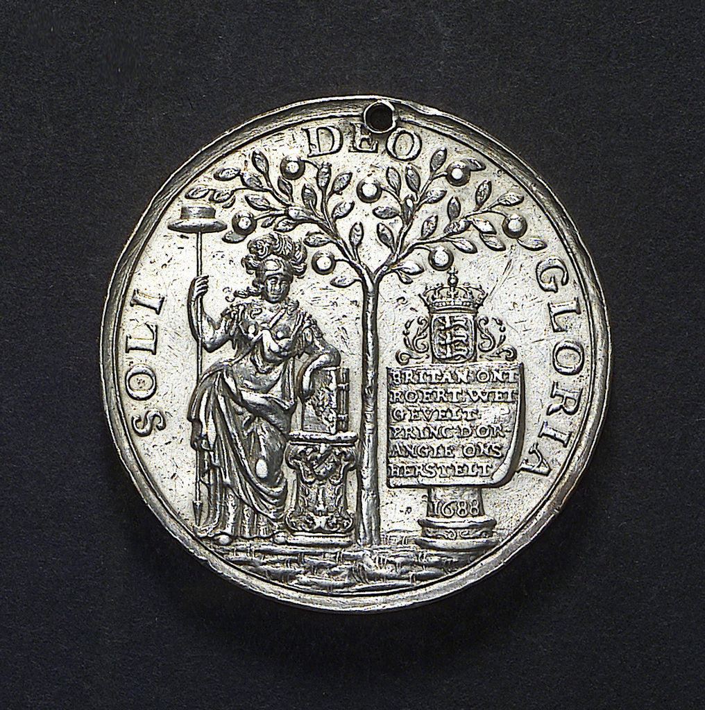 Detail of Medal commemorating the landing of William of Orange at Torbay, 1688; obverse by unknown