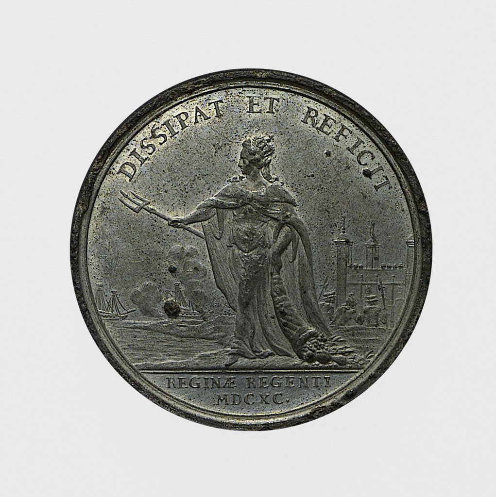 Detail of Medal commemorating Queen Mary Regent and the repair of the fleet; reverse by J. Smeltzing