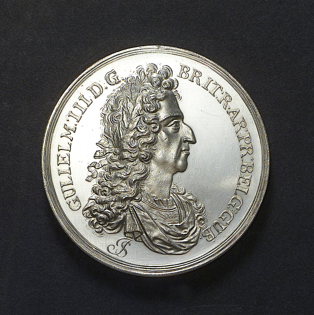 Detail of Medal commemorating the return of King William III to Holland, 1691; obverse by J. Smeltzing