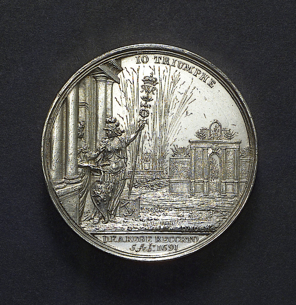 Detail of Medal commemorating the dangerous crossing of King William III and the fireworks at The Hague, 1691; reverse by D. Koene