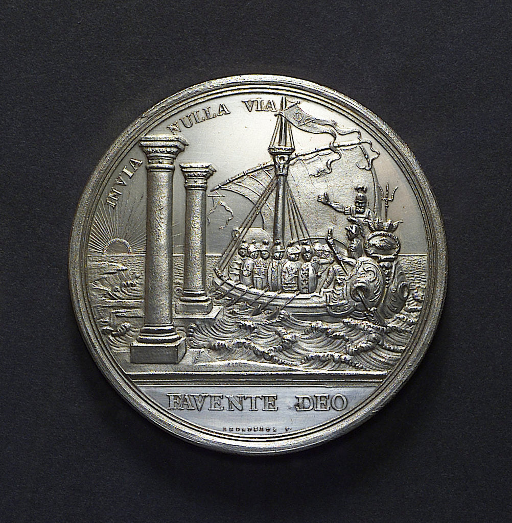 Detail of Medal commemorating the Dutch East India Company centenary, 1702; reverse by R. Arondeaux