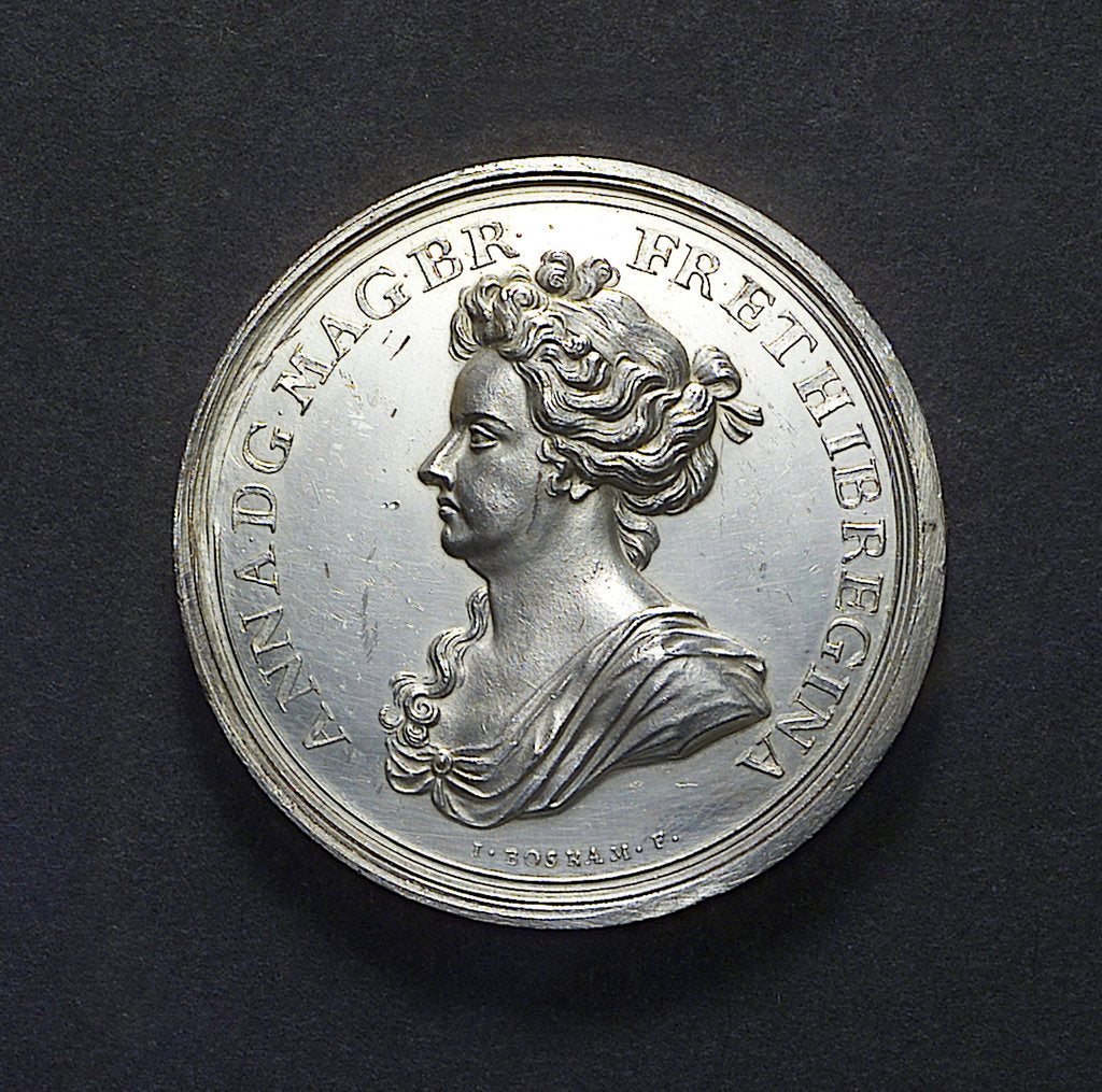 Detail of Medal commemorating the Expedition to Vigo Bay, 1702; obverse by J. Boskam