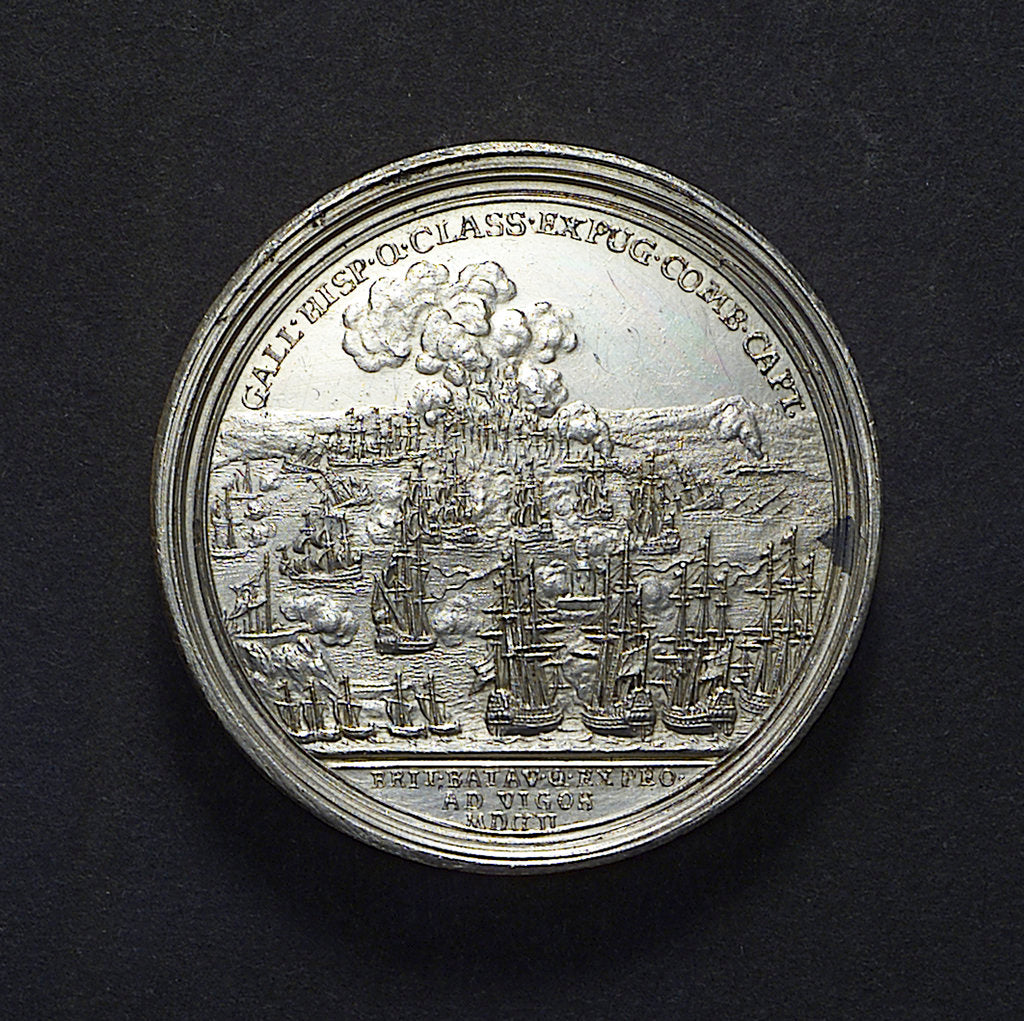 Detail of Medal commemorating the Expedition to Vigo Bay, 1702; reverse by J. Boskam