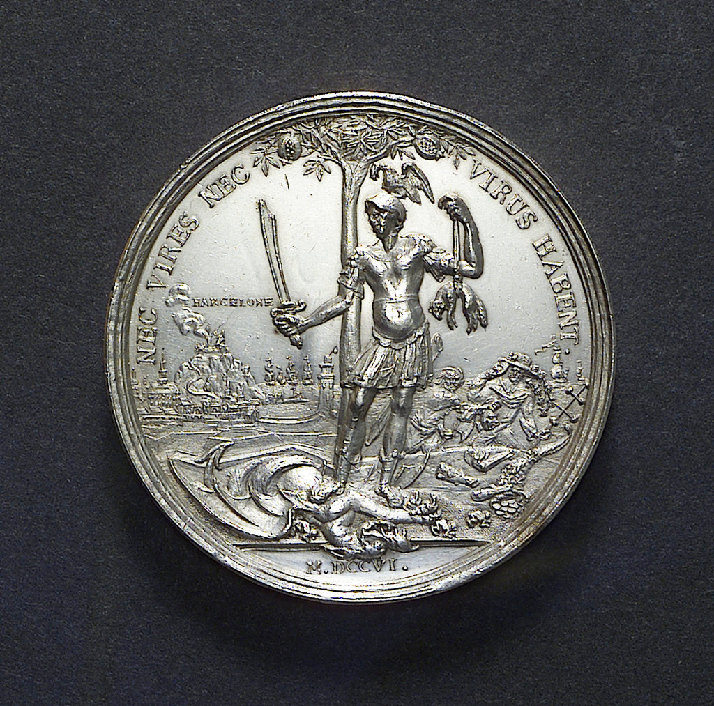 Detail of Medal commemorating the relief of Barcelona, 1706; reverse by M. Smeltzing