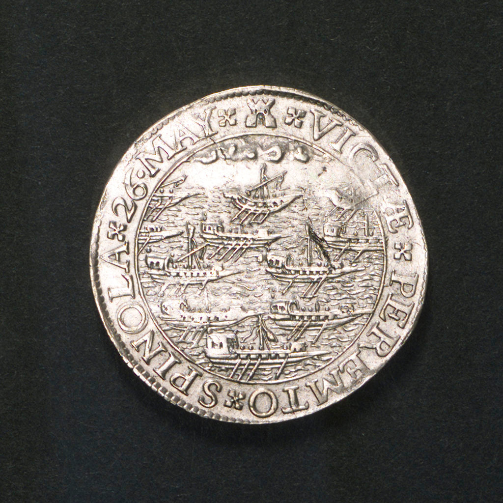 Detail of Counter commemorating the Spanish defeat off Sluys and the death of Spinola, 1603; reverse by unknown