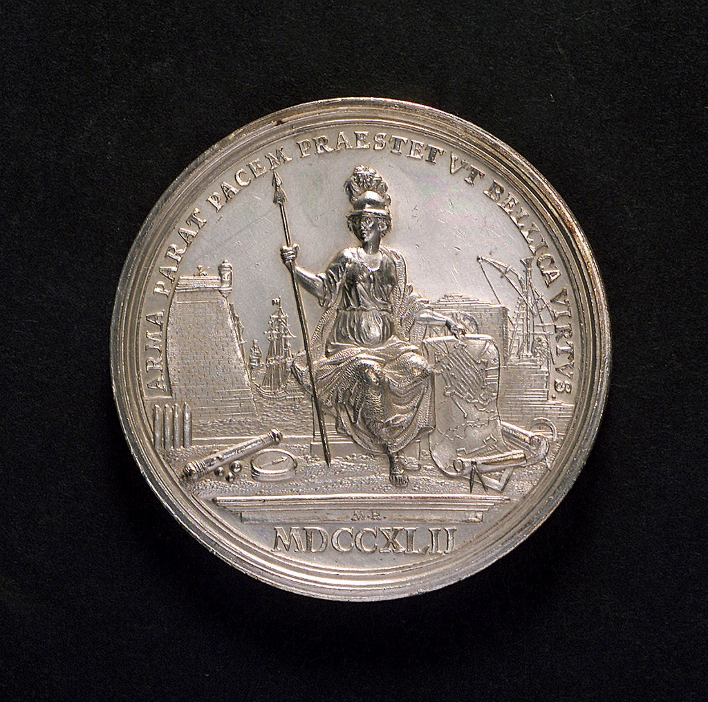 Detail of Medal commemorating preparation for war, 1742; reverse by M. Holtzhey