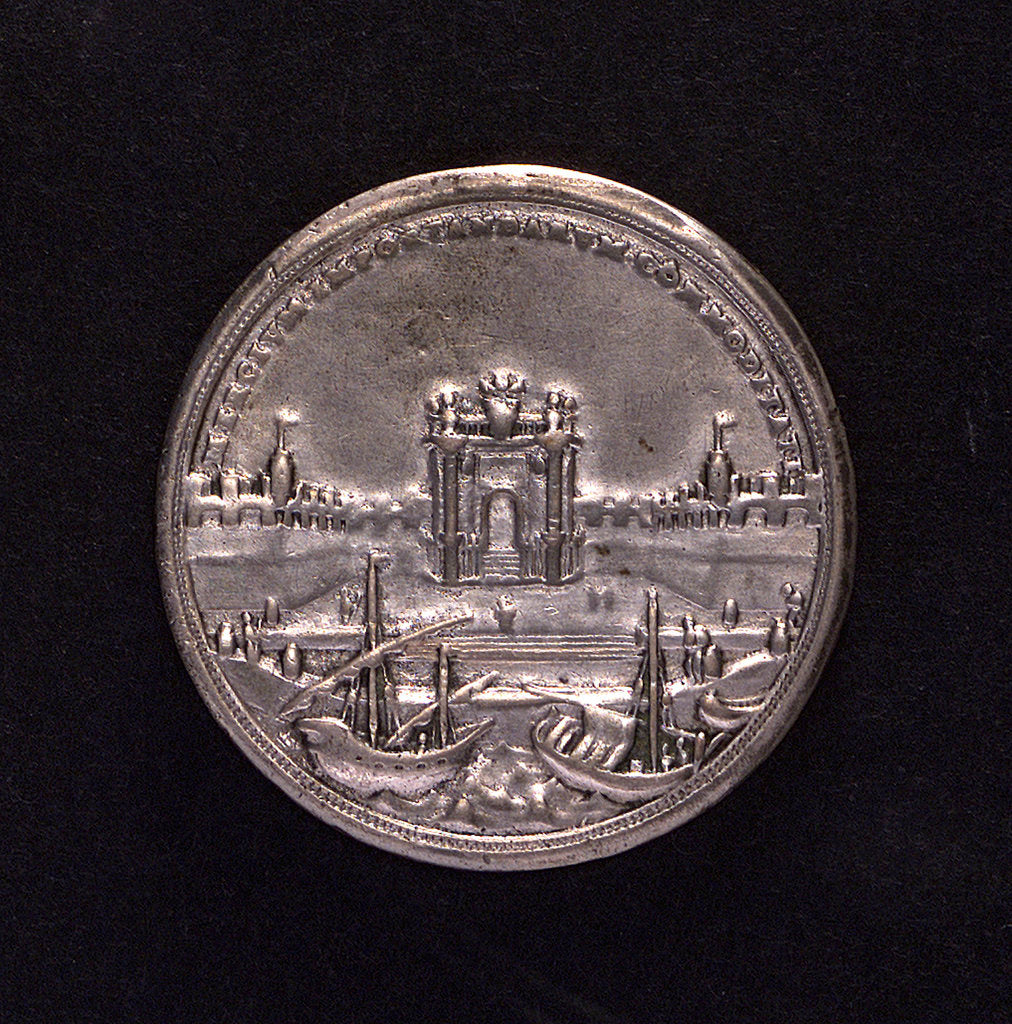 Detail of Medal commemorating warehouses built at Civitavecchia; reverse by O. Hamerani
