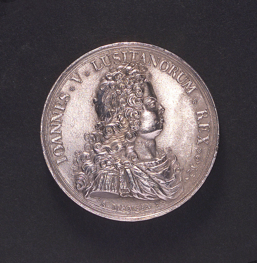 Detail of Medal commemorating action off Corfu, victory over the Turks, 1716; obverse by A. Mengin