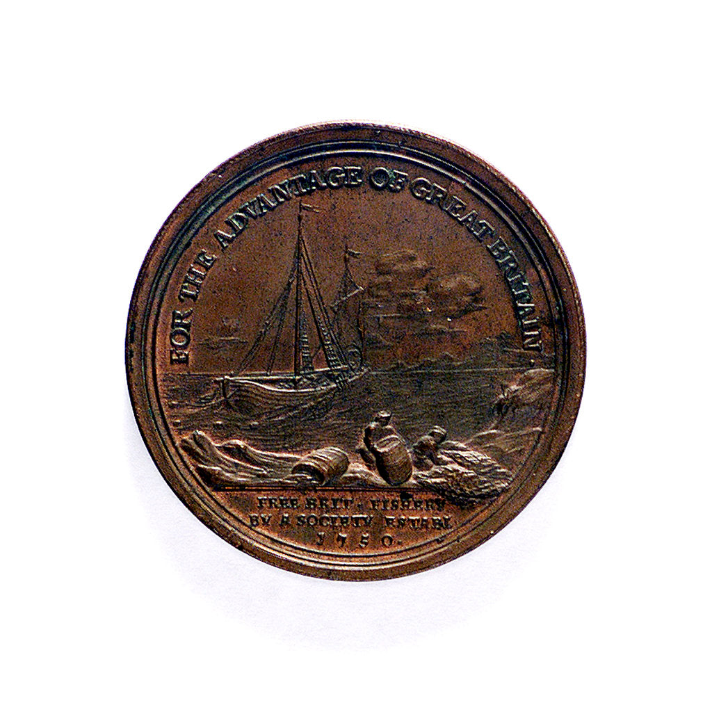 Detail of Medal commemorating the Free British Fishery Society; reverse by L.C. Koch
