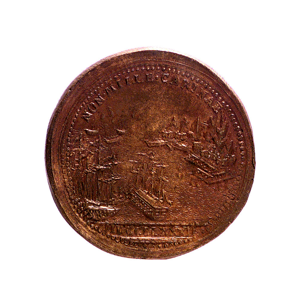 Detail of Medal commemorating the defence of Gibraltar and General Eliott, 1779-83; reverse by J. Weber