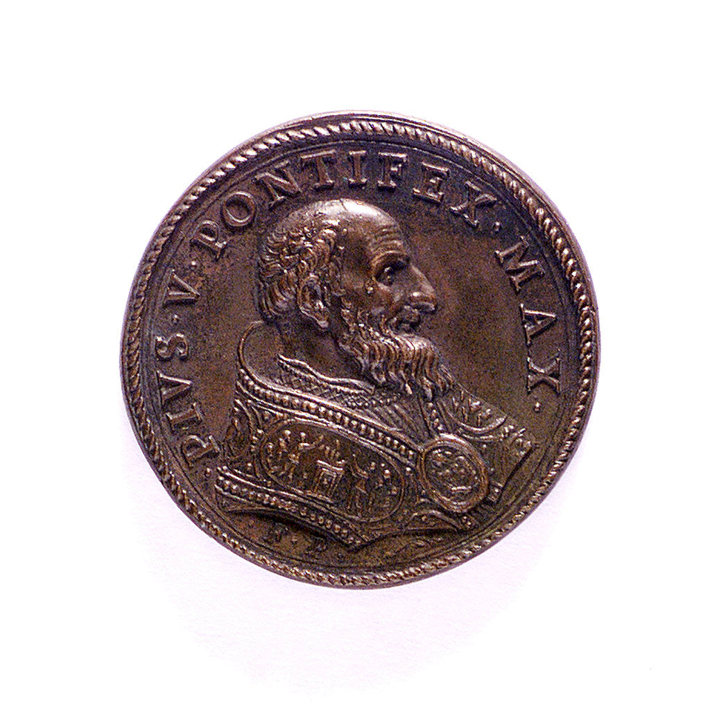 Detail of Medal commemorating peace after the Battle of Lepanto; obverse by G.F. Bonzagna