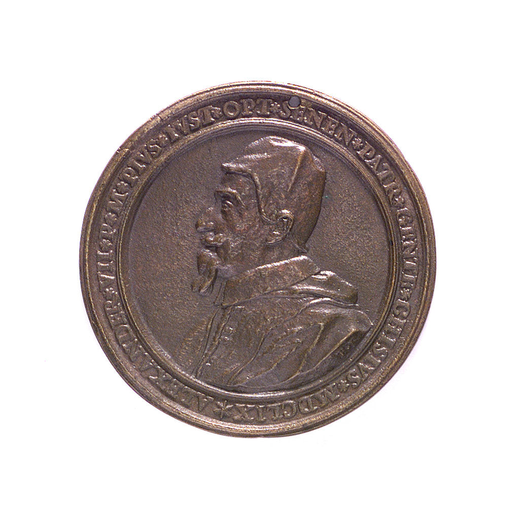 Detail of Medal commemorating the fortified town and port of Civitavecchia; obverse by unknown