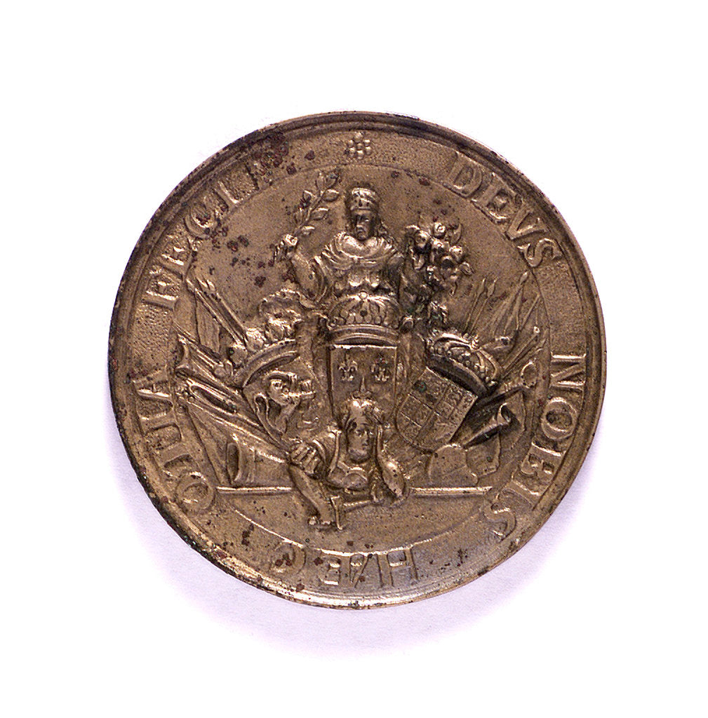 Detail of Medal commemorating the commercial treaties between Holland, France and England; obverse by J. Pool