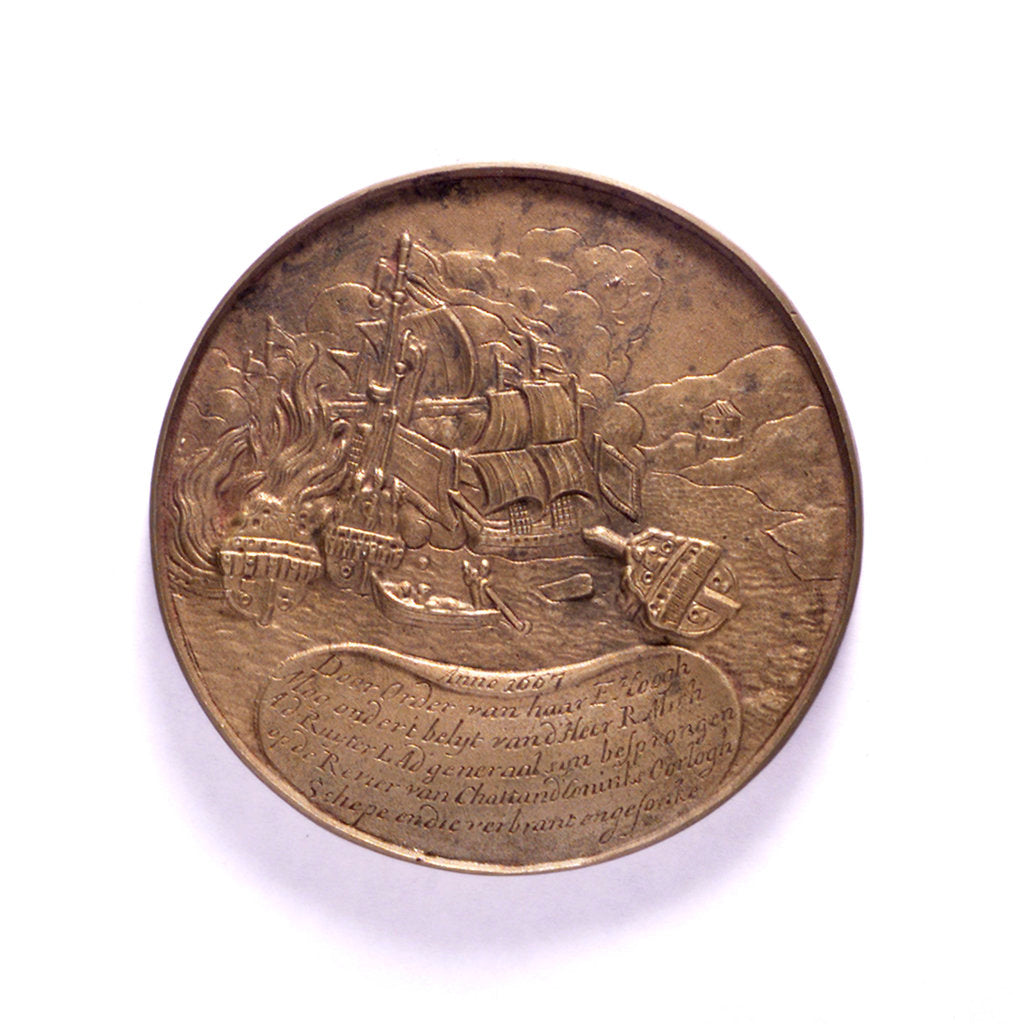 Medal commemorating ships burnt in the Medway and the proclomation of the peace of Breda, 1667; reverse by P.van Abeele