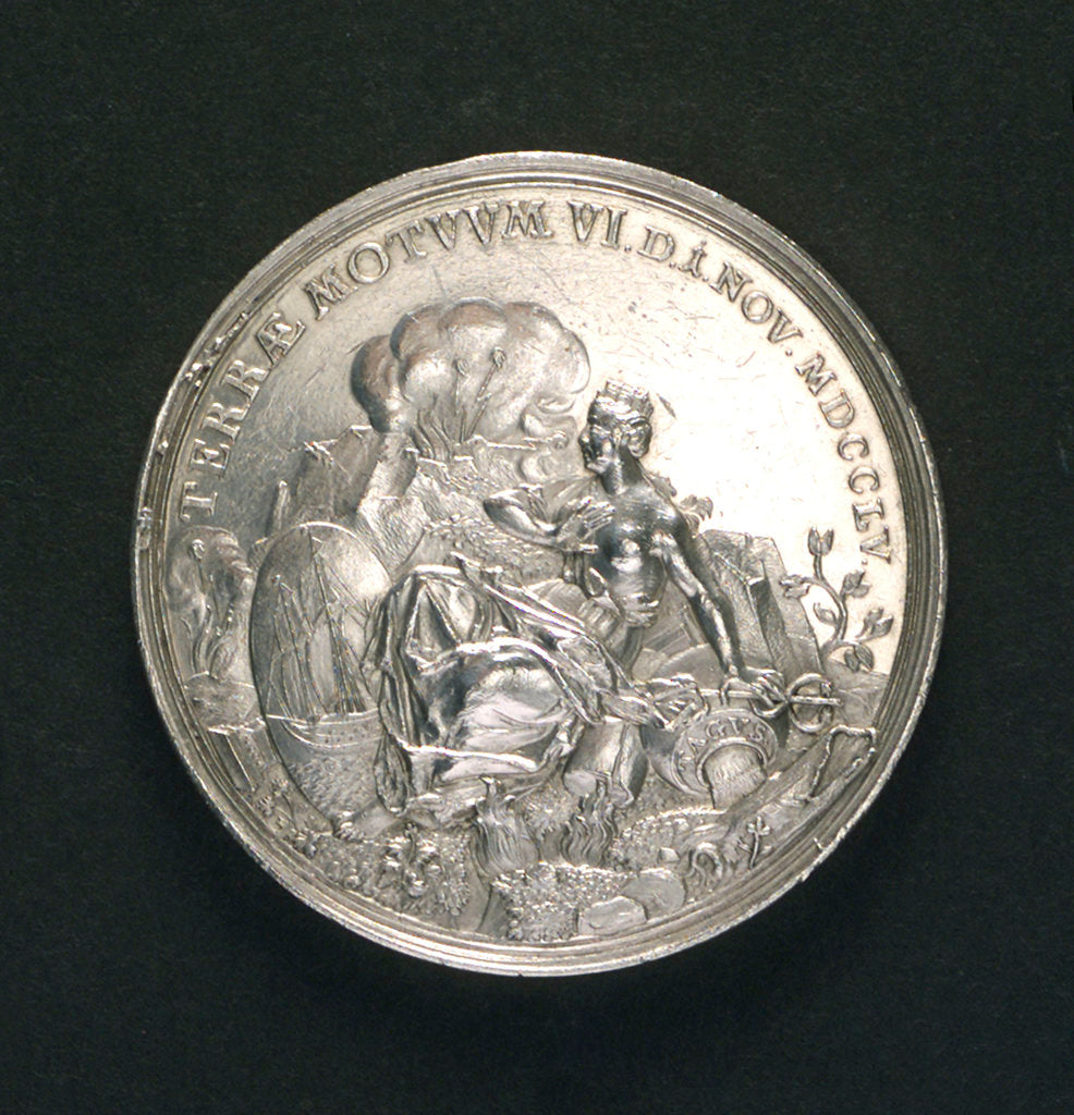 Detail of Medal commemorating the earthquake at Lisbon, 1755; obverse by M. Holtzhey