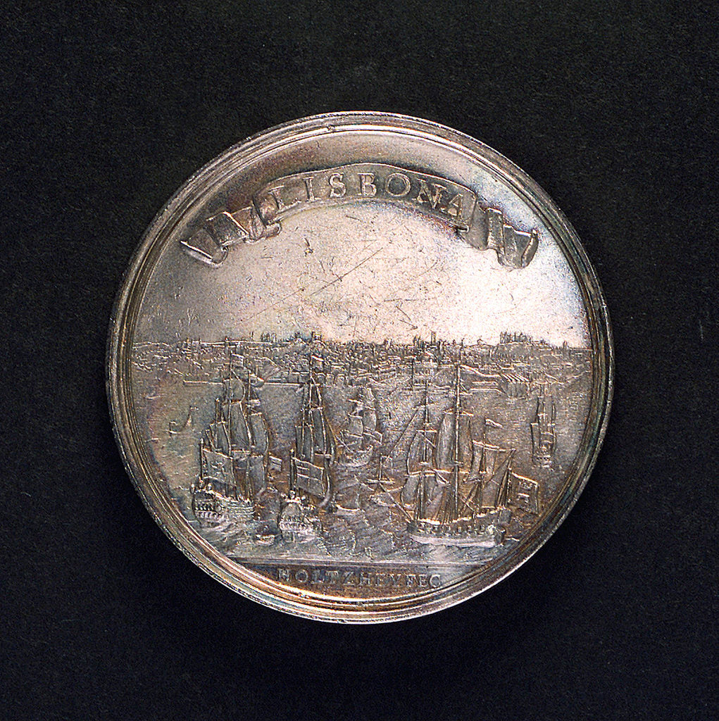 Detail of Medal commemorating the earthquake at Lisbon, 1755; reverse by M. Holtzhey