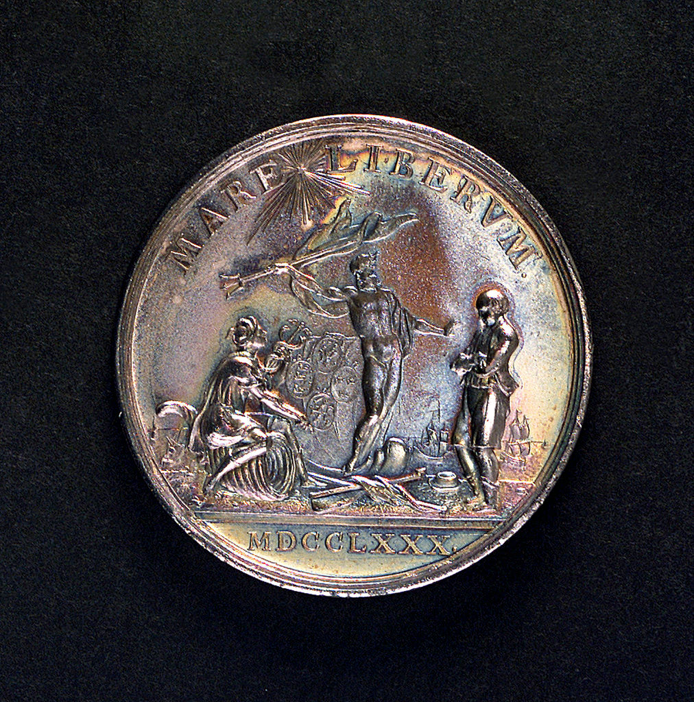 Detail of Medal commemorating armed neutrality at sea; reverse by Johann Georg Holtzhey