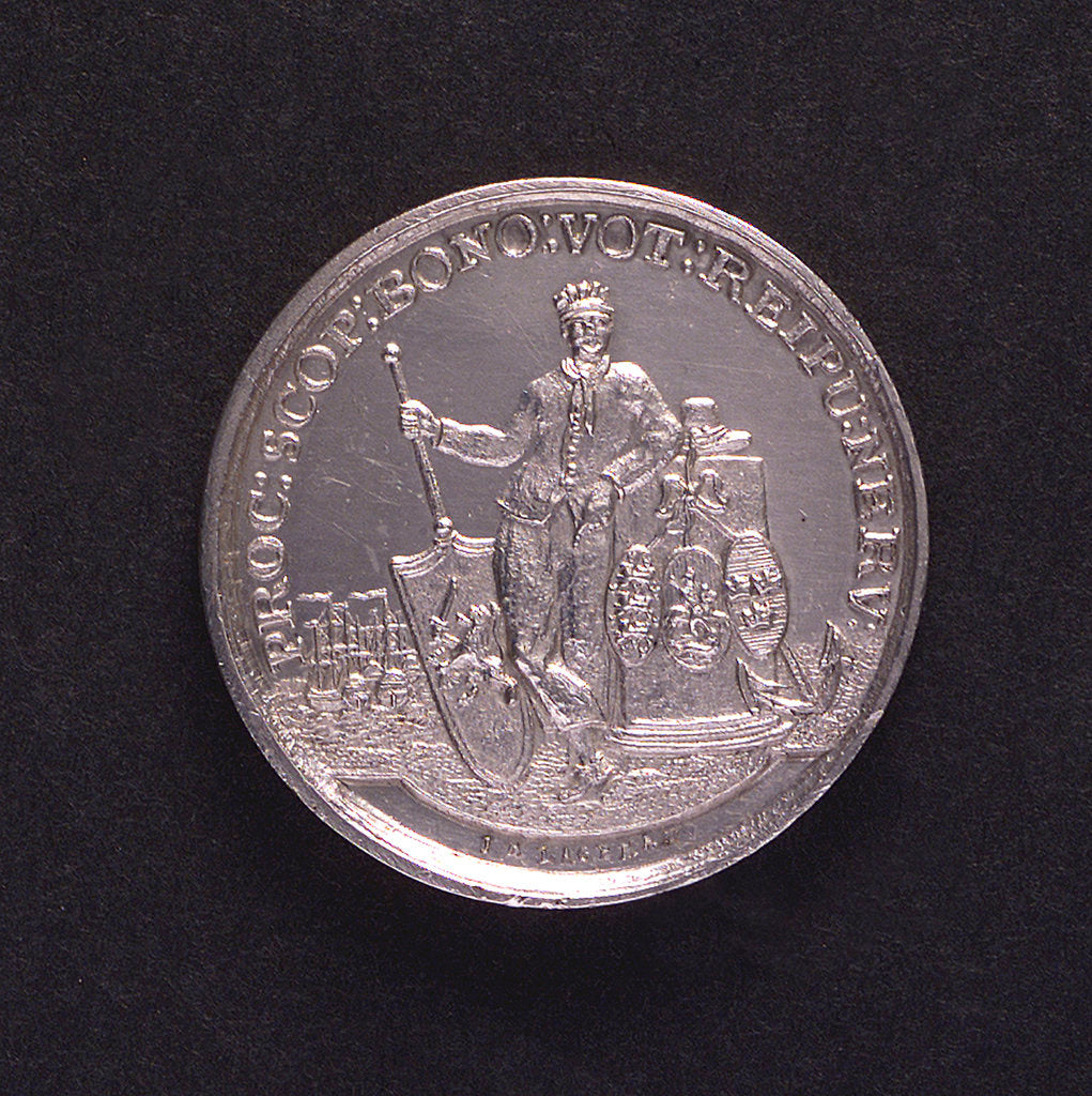 Detail of Medal commemorating armed neutrality at sea; obverse by J.M. Lageman