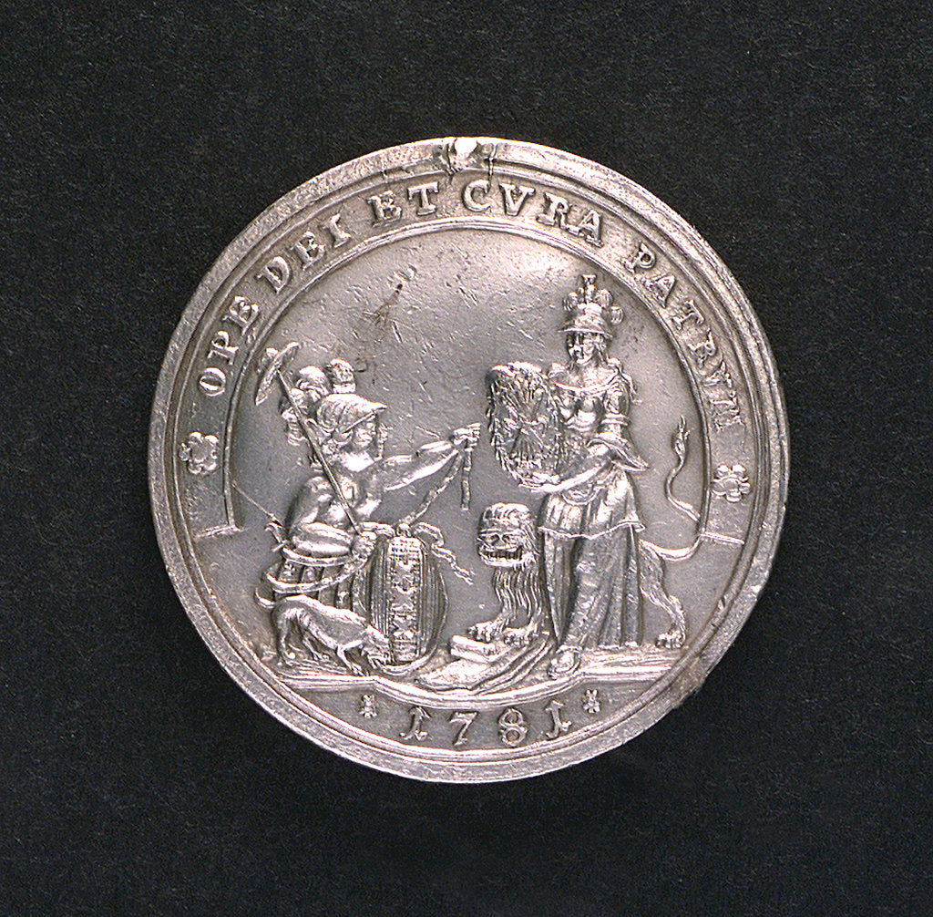 Detail of Medal commemorating the outbreak of the Fourth Dutch War, 1781; obverse by unknown