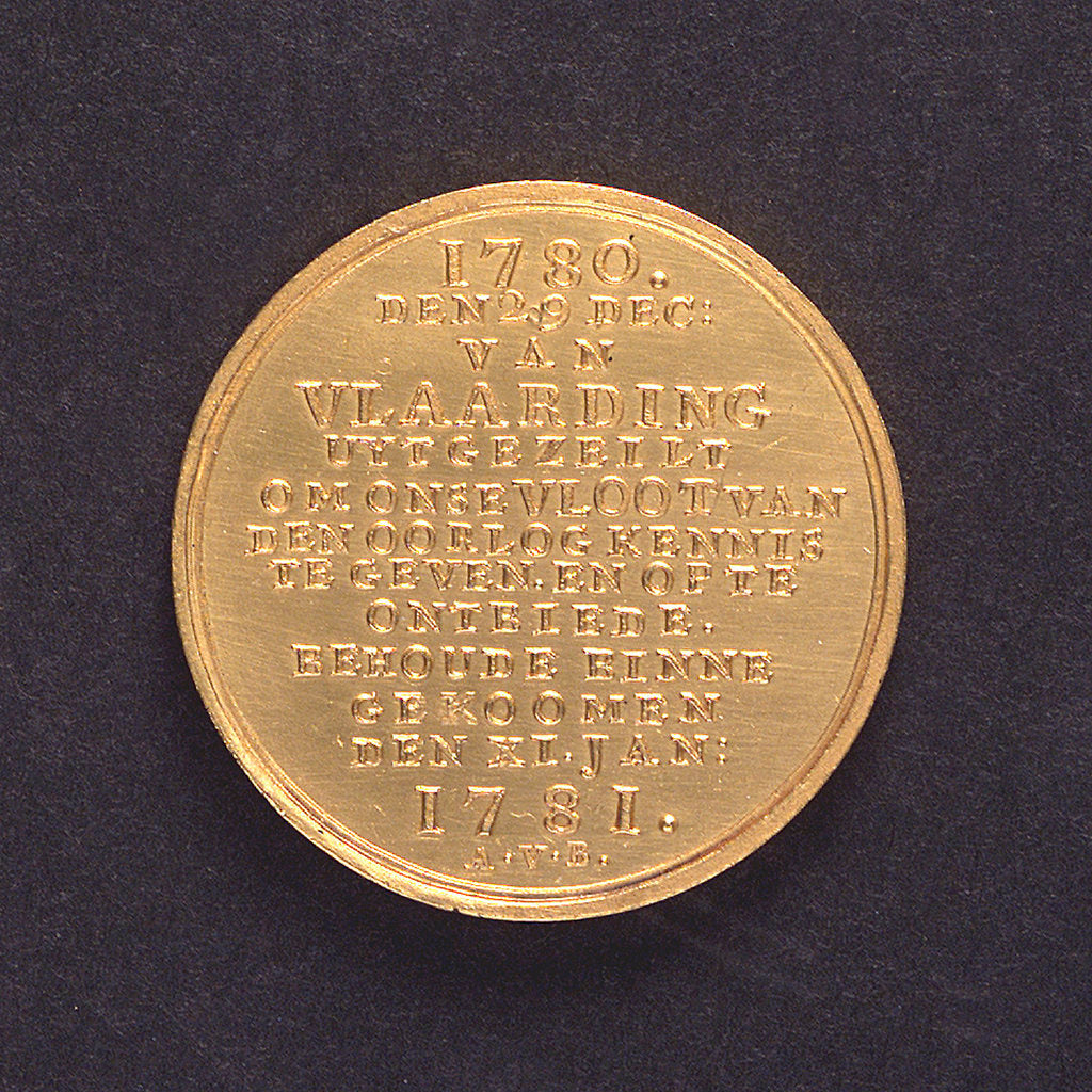 Medal commemorating J van der Windt's warning to the Dutch fishing fleet; reverse by A. van Baerll