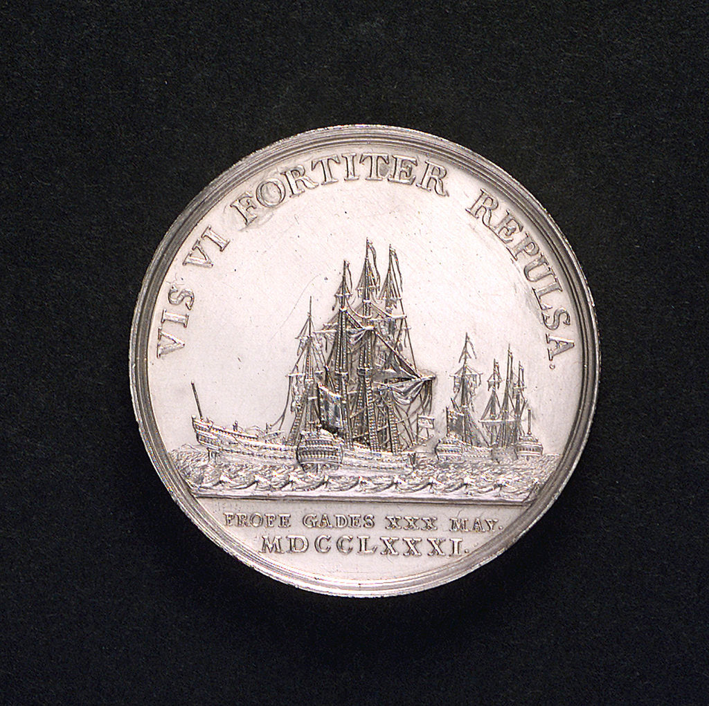Medal commemorating action off Cadiz, 1781; obverse by Johann Georg Holtzhey