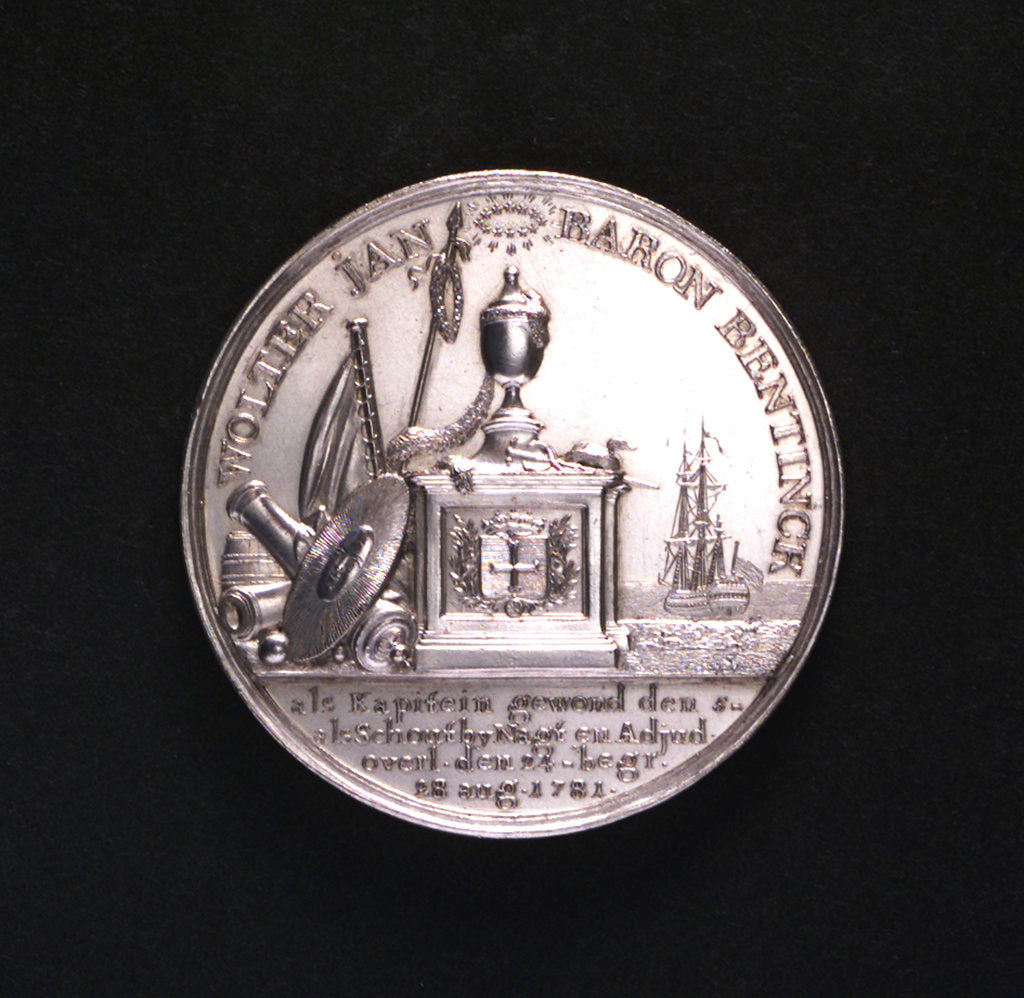 Detail of Medal commemorating the Battle of Doggerbank and Admiral Bentinck; obverse by Johann Georg Holtzhey