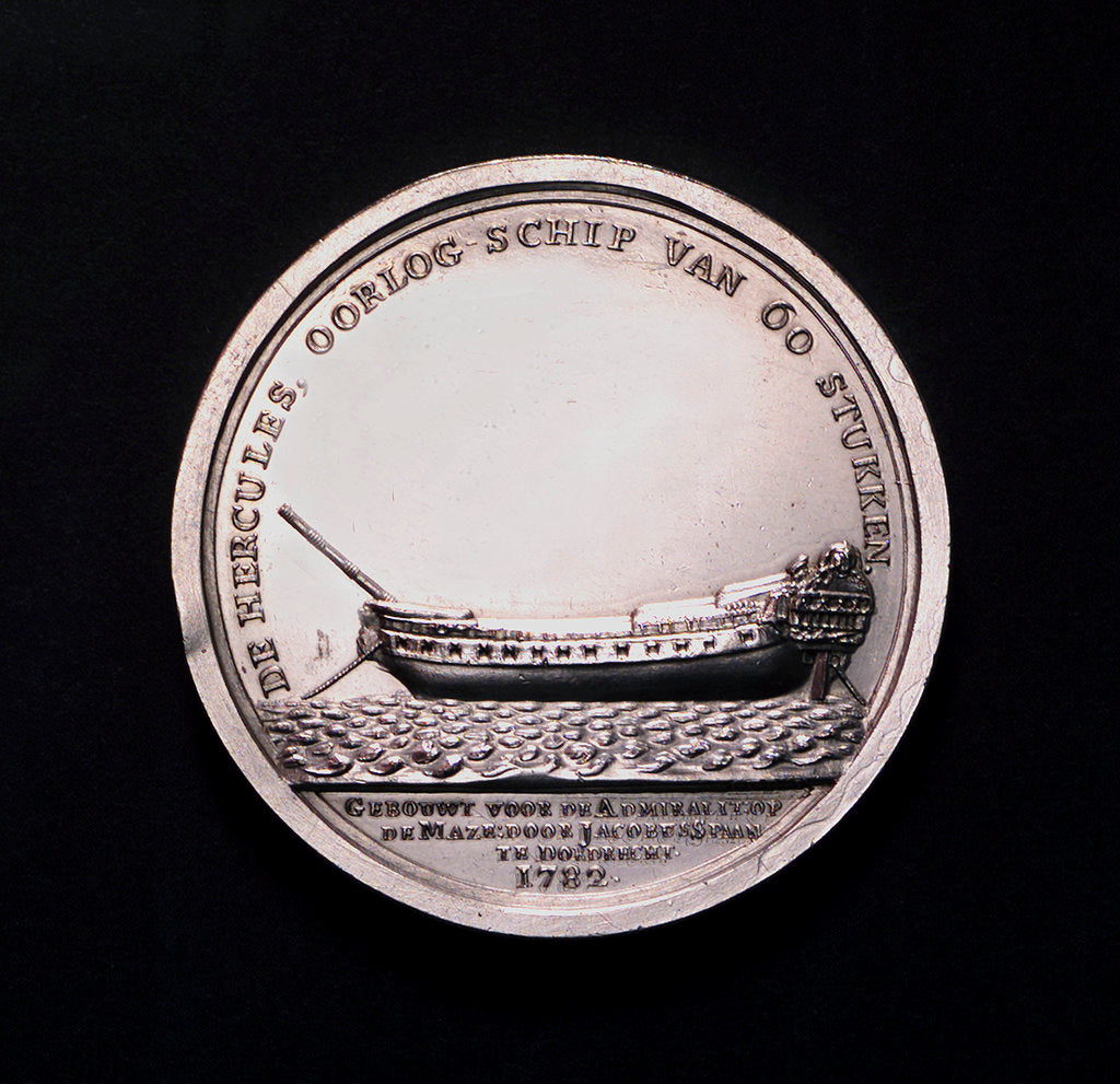 Detail of Medal commemorating the launch of the 'Hercules' of 60 guns, 1782; obverse by A. van Baerll