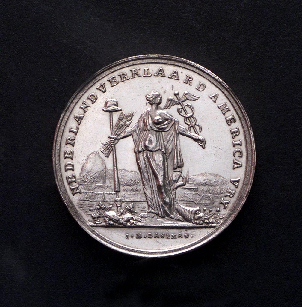 Detail of Medal commemorating the United States declared free by the Netherlands; obverse by J.M. Lageman