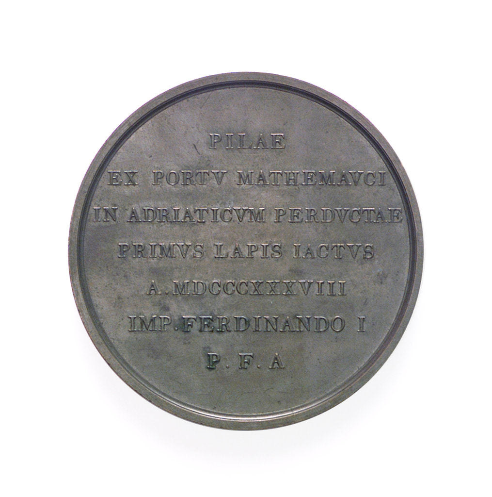 Detail of Medal commemorating the construction of the lighthouse, Port of Venice; reverse by L. Ferrari