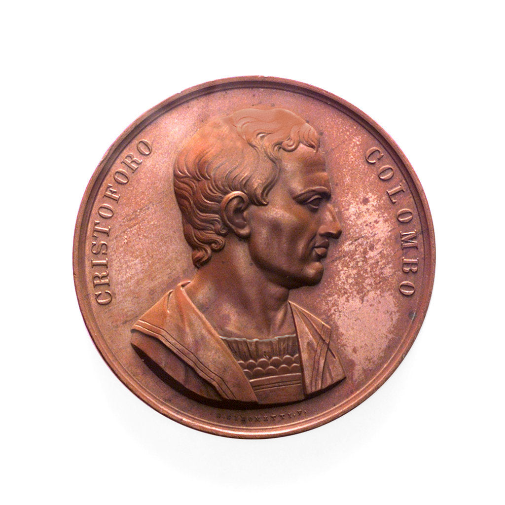 Detail of Medal commemorating the 350th anniversary of Christopher Columbus, 1842; obverse by G. Girometti