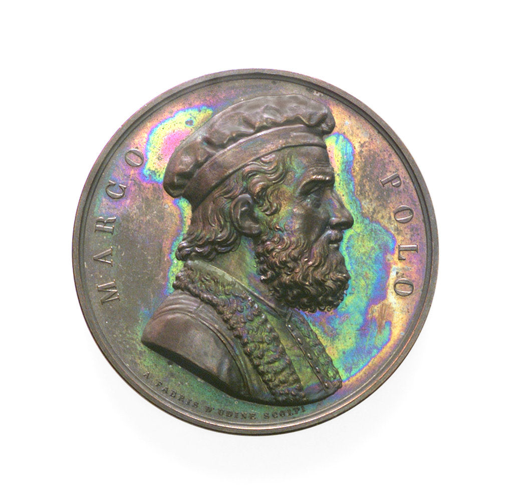 Detail of Medal commemorating Marco Polo and the 9th Conference of Italian Scientists; obverse by A. Fabris
