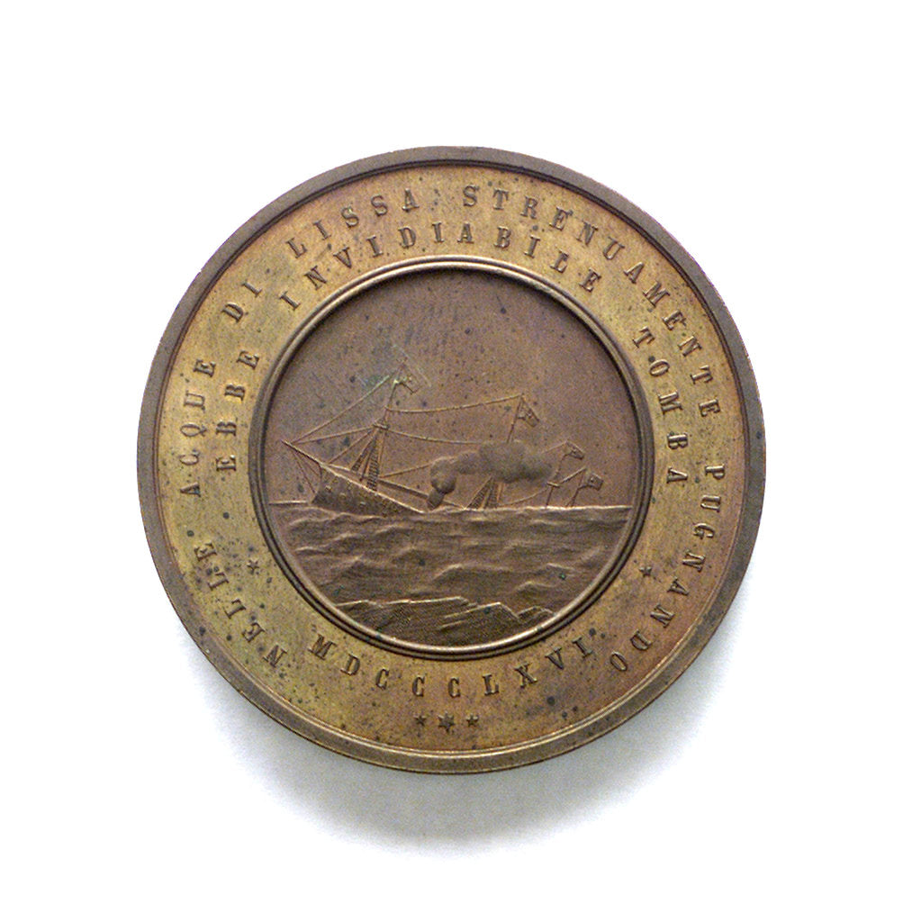 Detail of Medal commemorating Captain Faa di Bruno and the sinking of the Re d'Italia; reverse by A. Pieroni