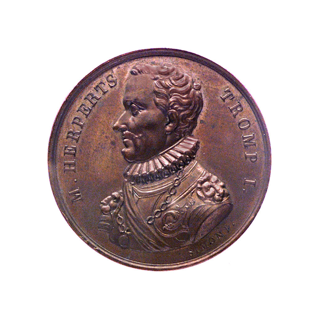 Detail of Medal commemorating  Admiral Maarten Harpertszoon van Tromp (1597-1653); obverse by J.H. Simon