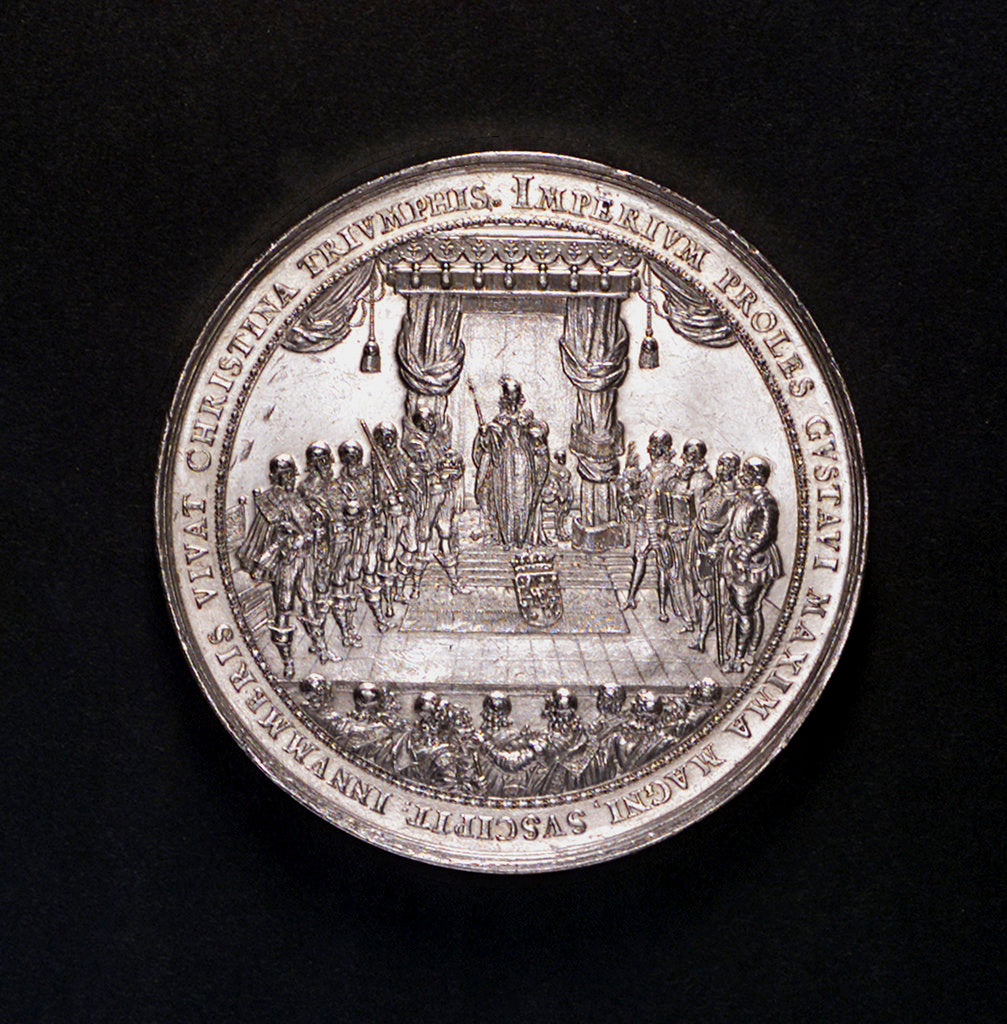 Detail of Medal commemorating the accession of Queen Christina and the Battle of Femern, 1644; obverse by S. Dadler