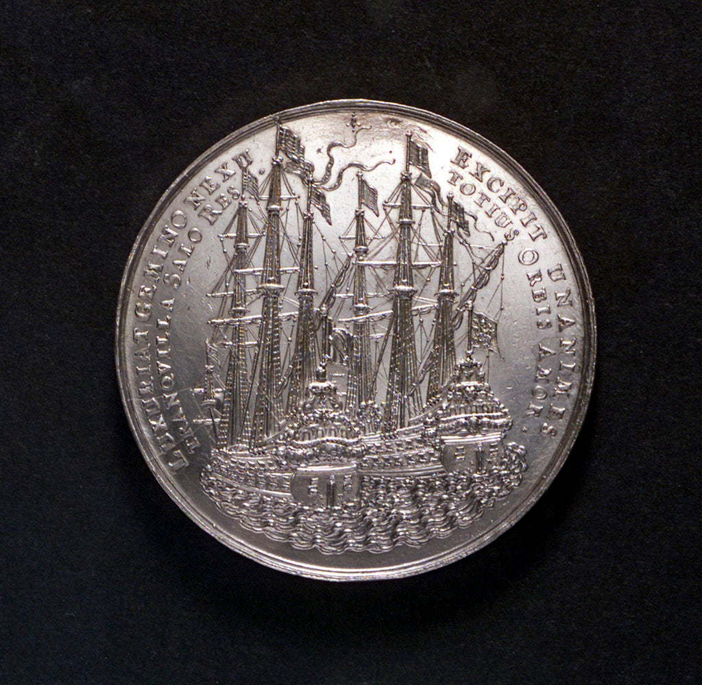 Detail of Medal commemorating the peace of Westminster, 1654; reverse by S. Dadler