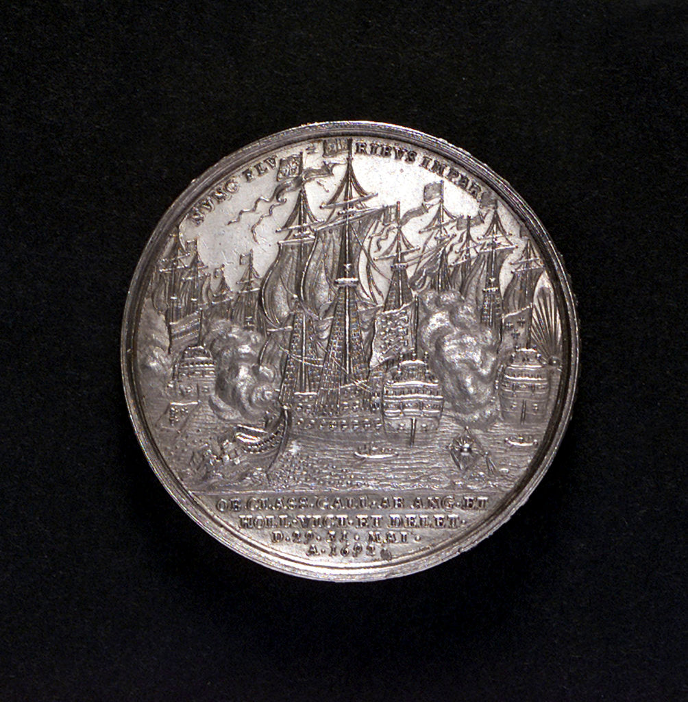 Detail of Medal commemorating the Battle of La Hogue, 1692; reverse by G. Hautsch