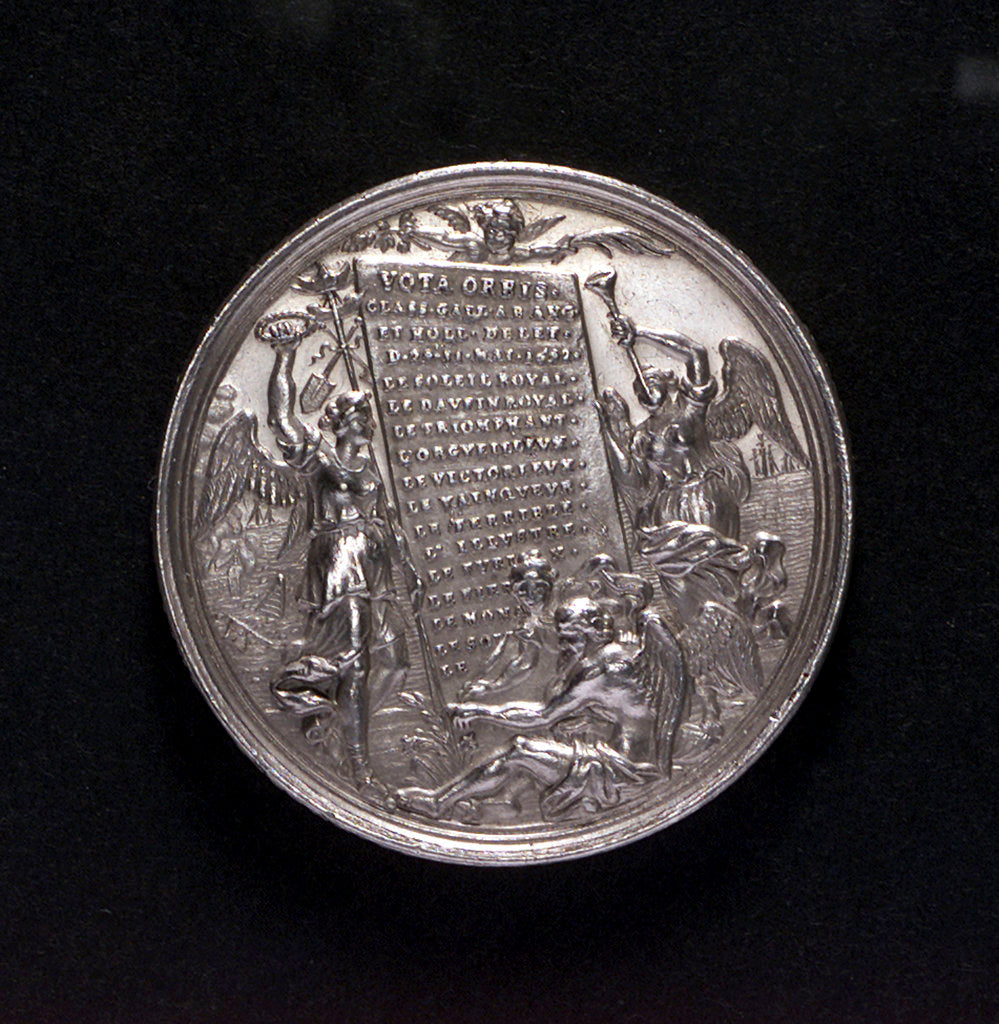 Detail of Medal commemorating the Battle of La Hogue, 1692; reverse by George Hautsch