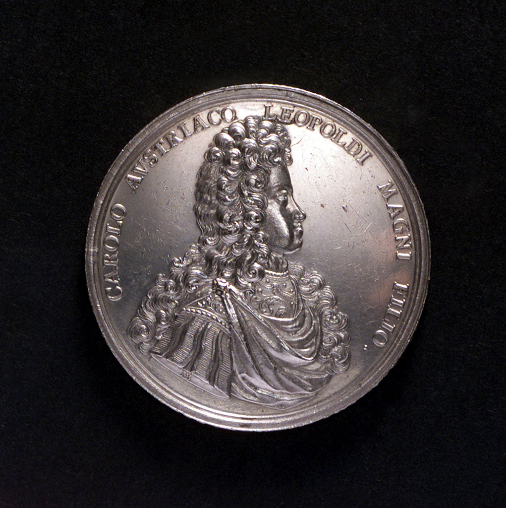 Detail of Medal commemorating the proposed departure of Archduke Charles III for Barcelona, 1700; obverse by M. Brunner