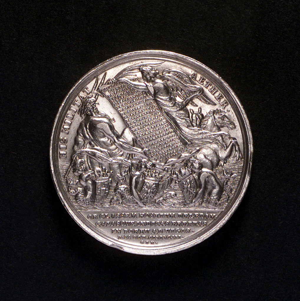 Detail of Medal commemorating the Expedition to Vigo Bay, 1702; obverse by G.F. Nurnberger