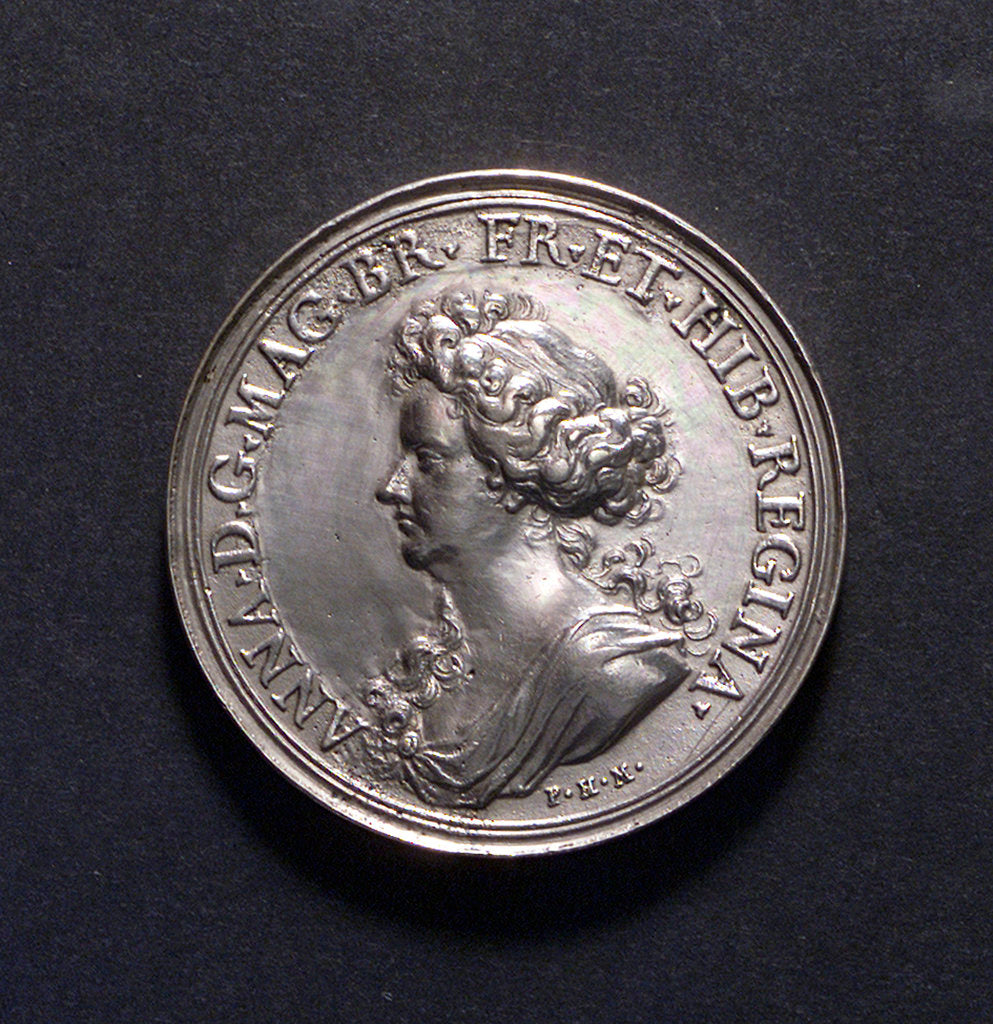 Detail of Medal commemorating British victories, 1704; obverse by P.H. Muller