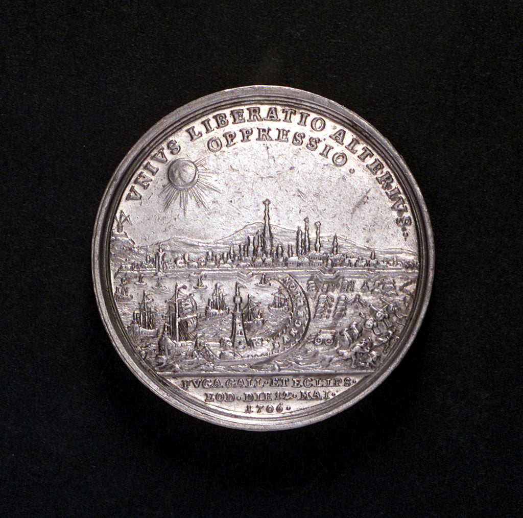 Detail of Medal commemorating Barcelona relieved, 1706; reverse by P.H. Muller