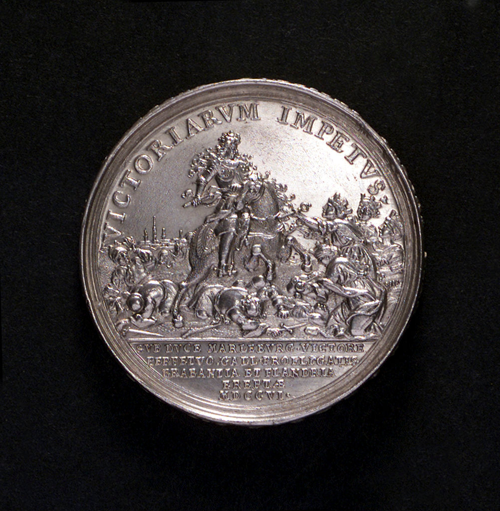 Detail of Medal commemorating Barcelona relieved and the conquest of Brabant, 1706; reverse by G. Hautsch