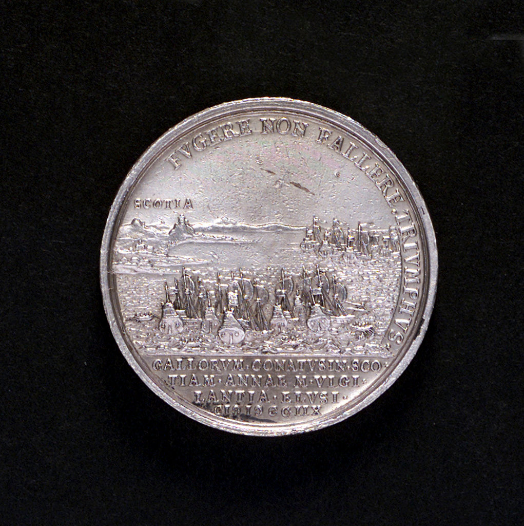 Medal commemorating the attempted invasion of Scotland, 1708; reverse by G. Hautsch