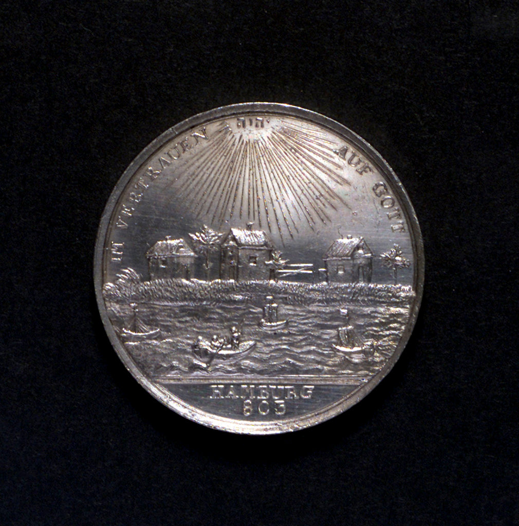 Detail of Medal commemorating Hamburg Millenary, 1803; obverse by D.F. Loos