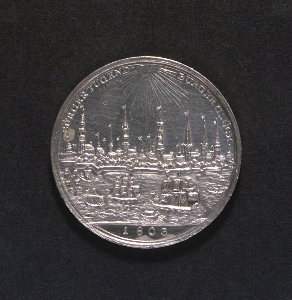 Detail of Medal commemorating Hamburg Millenary, 1803; reverse by D.F. Loos