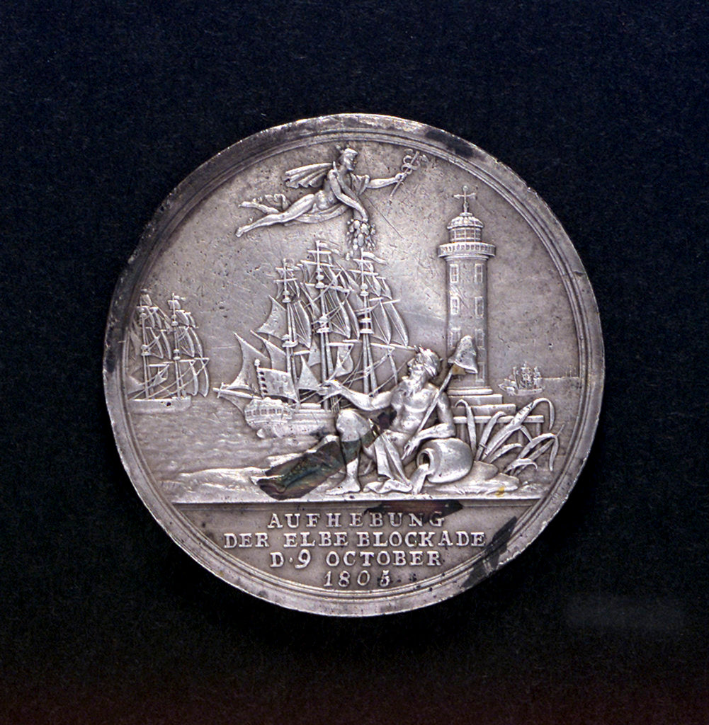 Detail of Medal commemorating the raising of the blockade of the Elbe, 1805; obverse by D.F. Loos