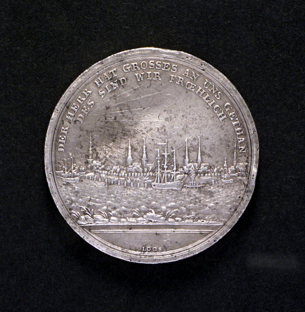 Detail of Medal commemorating the raising of the blockade of the Elbe, 1805; reverse by D.F. Loos