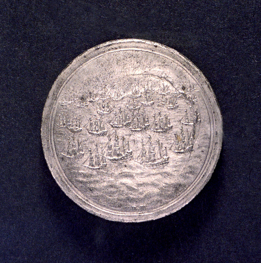 Detail of Medal commemorating Danish assistance to England; obverse by B. Meier