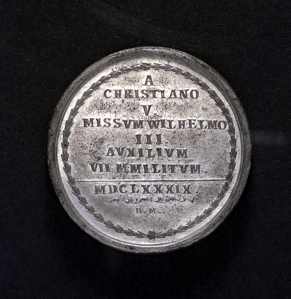 Detail of Medal commemorating Danish assistance to England; reverse by B. Meier